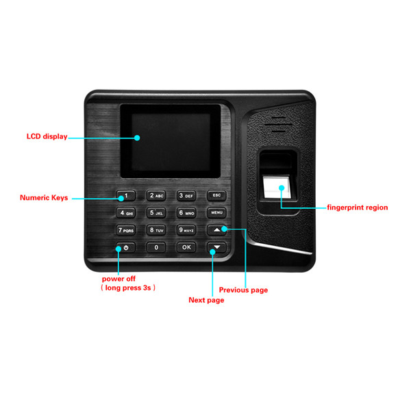Realand A-E260 2.8Inches USB LCD Biometric Fingerprint Attendance Machine