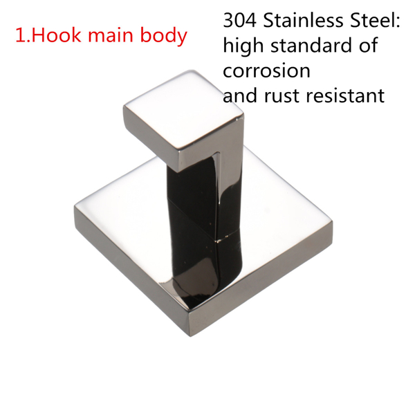 304 Stainless Steel Square Mirror Polish Bathroom Towel Wall Door Hook Hanger