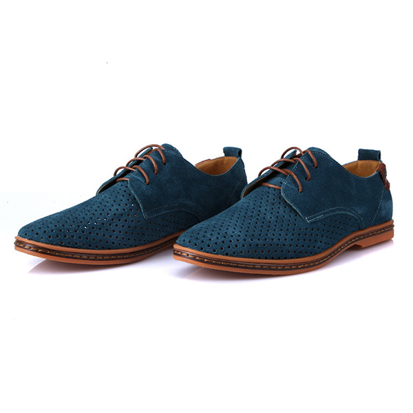 Big Size New Design Fashion Leather Shoes Casual Men's Suede Hole Shoes