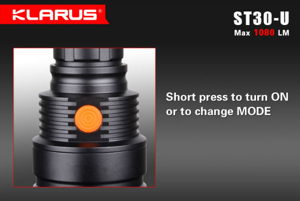 Klarus ST30-U L2 U2 1A 1080LM 5Modes Tactical LED Flashlight