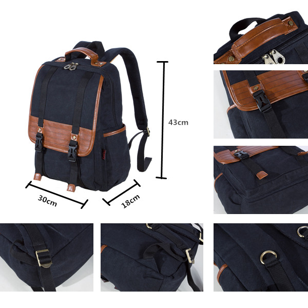 KAUKKO Retro Canvas Backpack Water Wash Double Shoulder Causal Men Bag