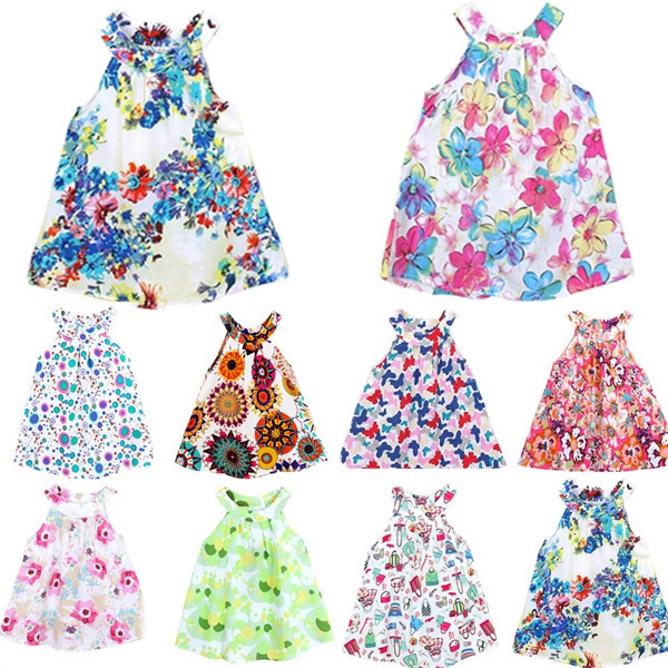 2015 Hot Baby Kids Girls Toddler Party Summer Jumper Skirt Bottega Veneta Floral Dress