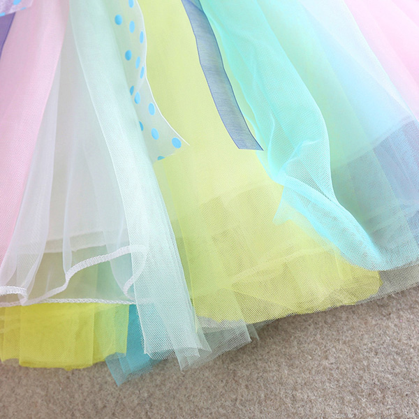 2015 Toddler Kids Girls Rainbow Sleeveless Princess Party Gauze Skirt Tutu Dress