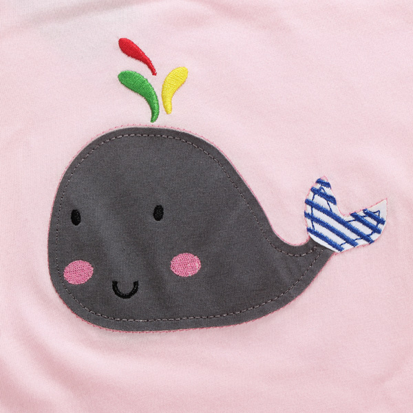 2015 New Little Maven Summer Baby Girl Children Whale Pink Cotton Short Sleeve T-shirt