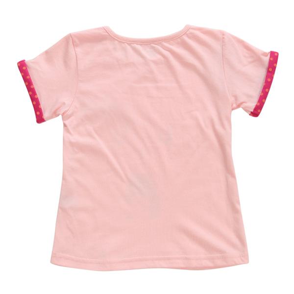 2015 New Little Maven Summer Baby Girl Children Cat Pink Cotton Short Sleeve T-shirt Top