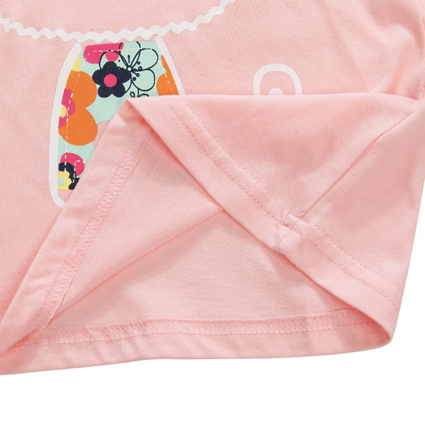 2015 New Little Maven Summer Baby Girl Children Cat Pink Cotton Short Sleeve T-shirt Top