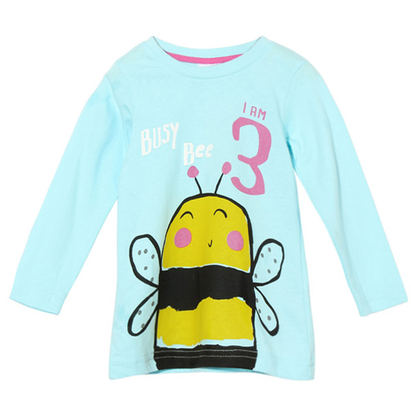 2015 New Little Maven Summer Baby Girl Children Bee Green Cotton Long Sleeve T-shirt