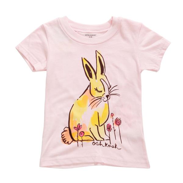 2015 New Little Maven Summer Baby Girl Children Rabbit Pink Cotton Short Sleeve T-shirt
