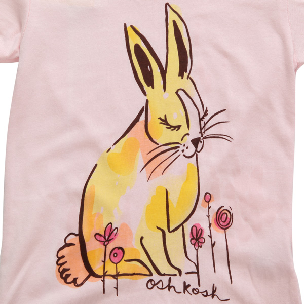 2015 New Little Maven Summer Baby Girl Children Rabbit Pink Cotton Short Sleeve T-shirt