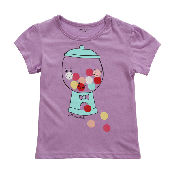 2015 New Little Maven Baby Children Girl Purple Cotton Short Sleeve T-shirt Top