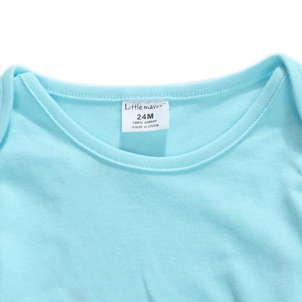 2015 New Little Maven Summer Baby Girl Children Ducks Green Cotton Long Sleeve T-shirt