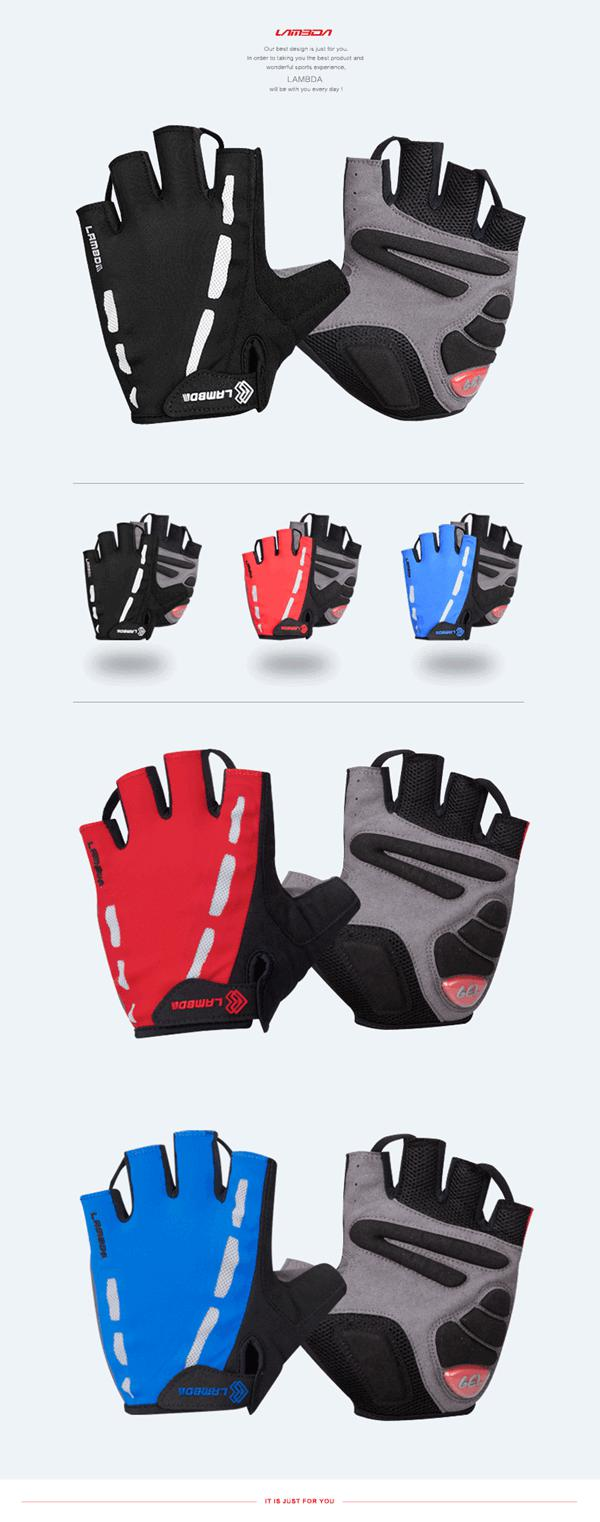 Lambda Cycling Gloves Half Finger Mountain Bike Bicycle Gloves For Bicycle Equipment