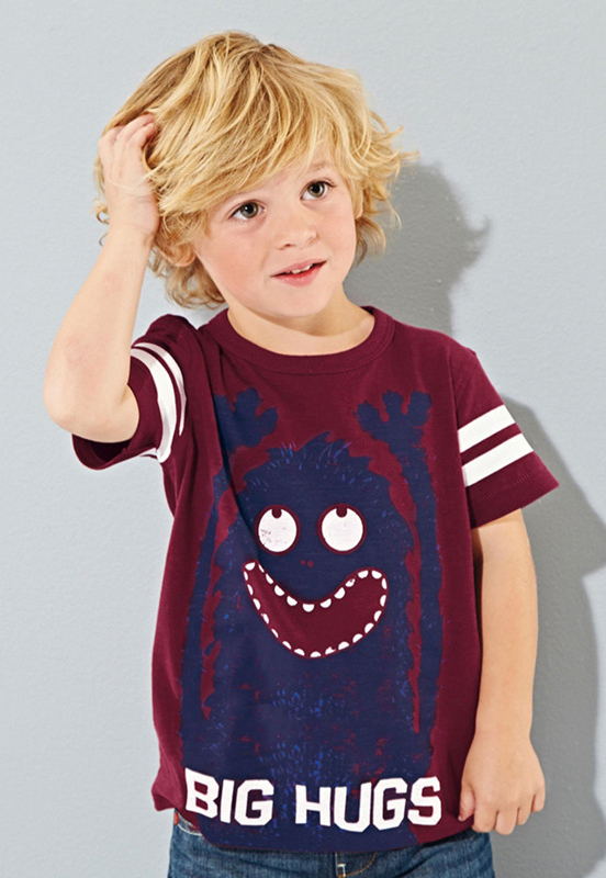 2015 New Little Maven Lovely Devil Baby Children Boy Cotton Short Sleeve T-shirt Top