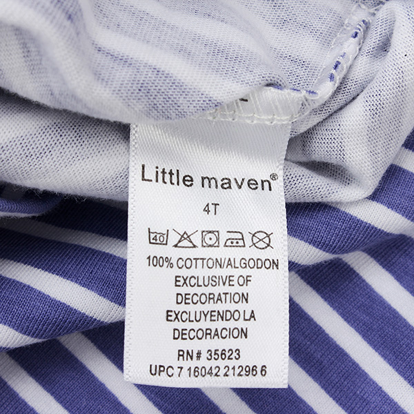 2015 New Little Maven Light Blue Stripe Crayon Baby Children Boy Cotton Short Sleeve