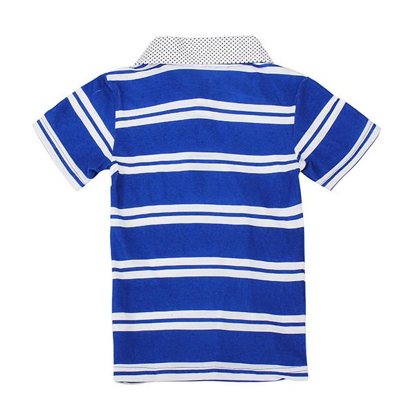 2015 New Little Maven Lovely Stripe Lapel Baby Children Boy Cotton Short Sleeve Top