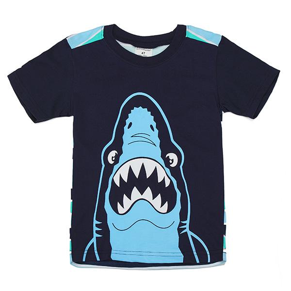 2015 New Little Maven Lovely Shark Baby Children Boy Cotton Short Sleeve T-shirt Top