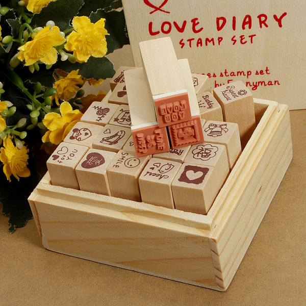 25Pcs Antique Wooden Boxes Love Diary Pattern Rubber Stamps Drawing Art