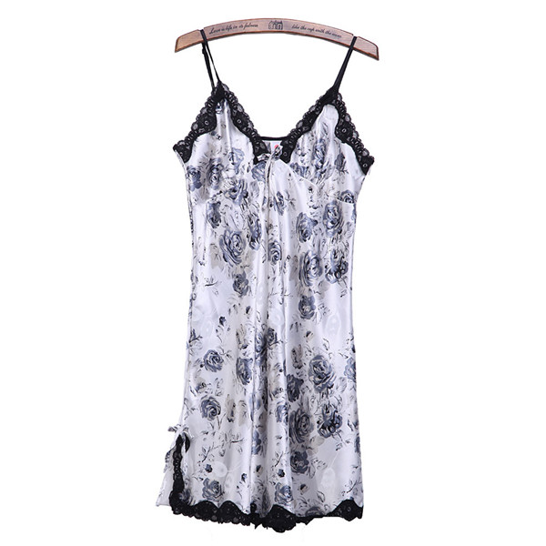 Women Sexy Lace Silk Black Rose Pattern Harness Lingerie Nightgown