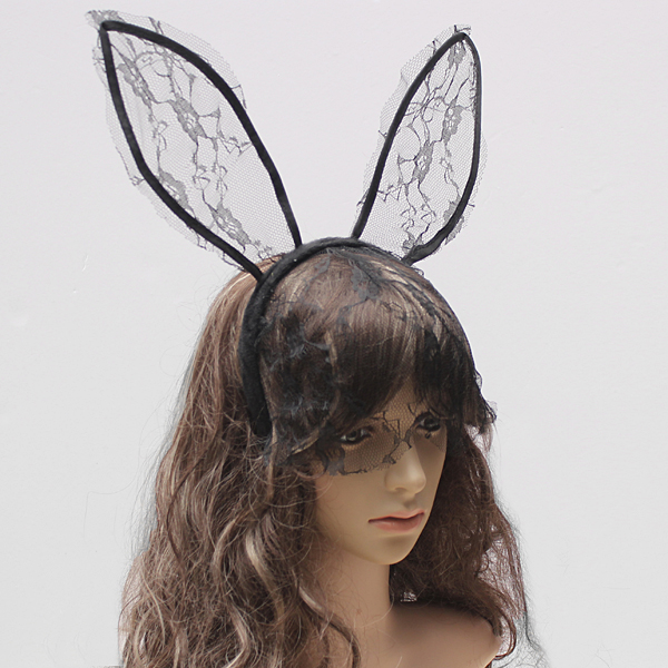 Sexy Lace Rabbit Ears Hair Hoop Hair Band Party Dance Mask