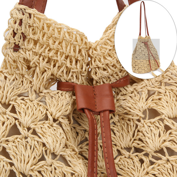 Women Hook Tassel Bucket Bags Ladies Straw Plaiting Tassel Bucket Bags Handbags