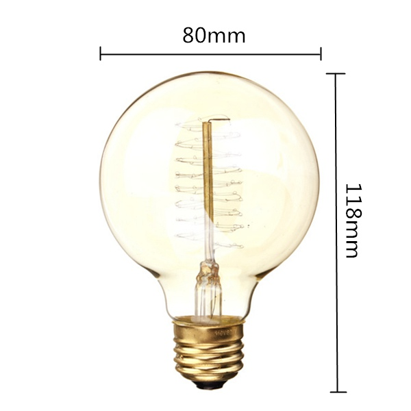 G80 E27 60W 110/220V 80mm x 118mm Incandescent Bulbs Retro Edison Bulb