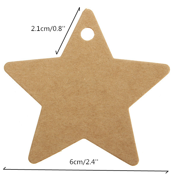 100pcs Five Star Kraft Paper Label Wedding Party Favor Gift Card Labels Tags
