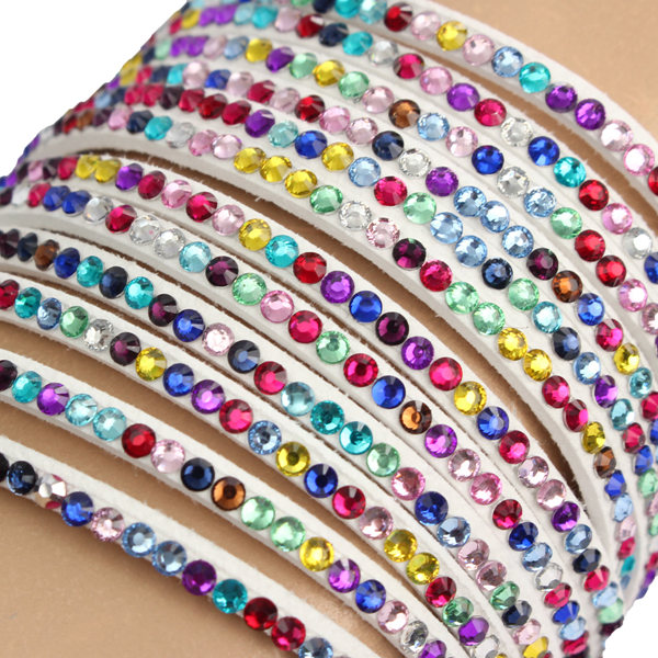 Multilayer Rhinestone Leather Wrap Bracelet Bangle For Women
