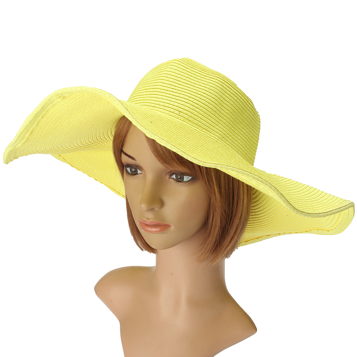 Women Lady Girls Summer Large Wide Floppy Brim Straw Beach Sun Hat Colorful Cap