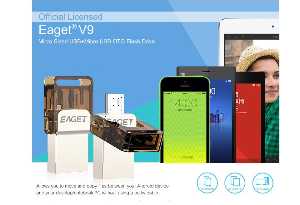 EAGET V9 2-in-1 USB 2.0 Micro USB OTG Flash DriveOTG Pen Drive for Android Smartphone
