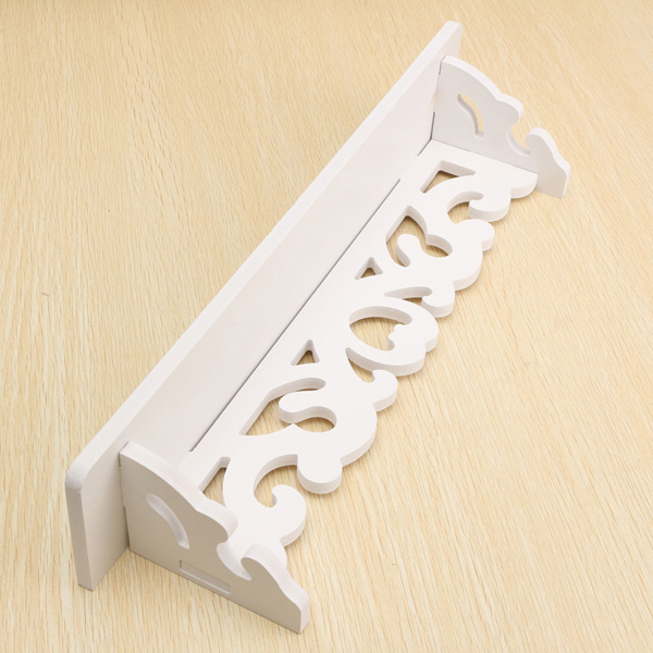 White Wooded Pierced Shelves Home Wall Storage Holder Cut Out Design Wall Shelf