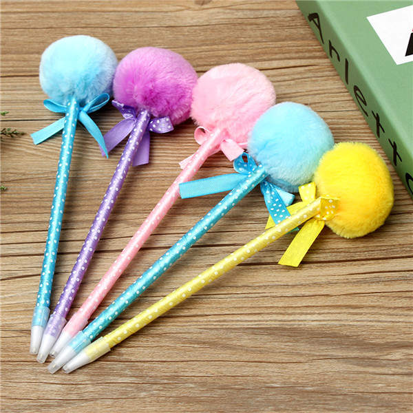 5Pcs Adorable Fluffy Pens Cute Ribbon Princess Lovely Ballpoint Ball Pen