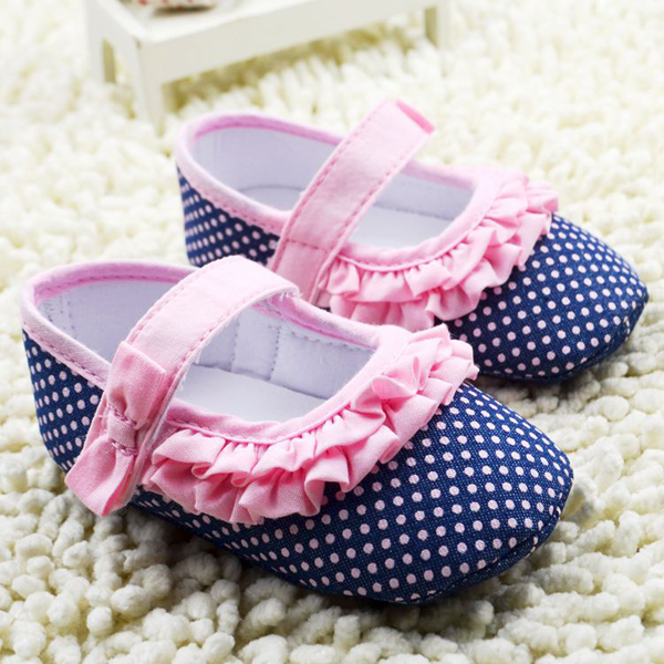 Baby Girl Dots Princess Soft Sole Hook Loop First Walking Shoes