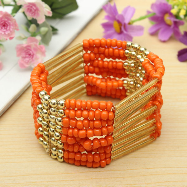 Bohemian Retro Colorful Multilayer Beaded Bracelet Bangle For Women