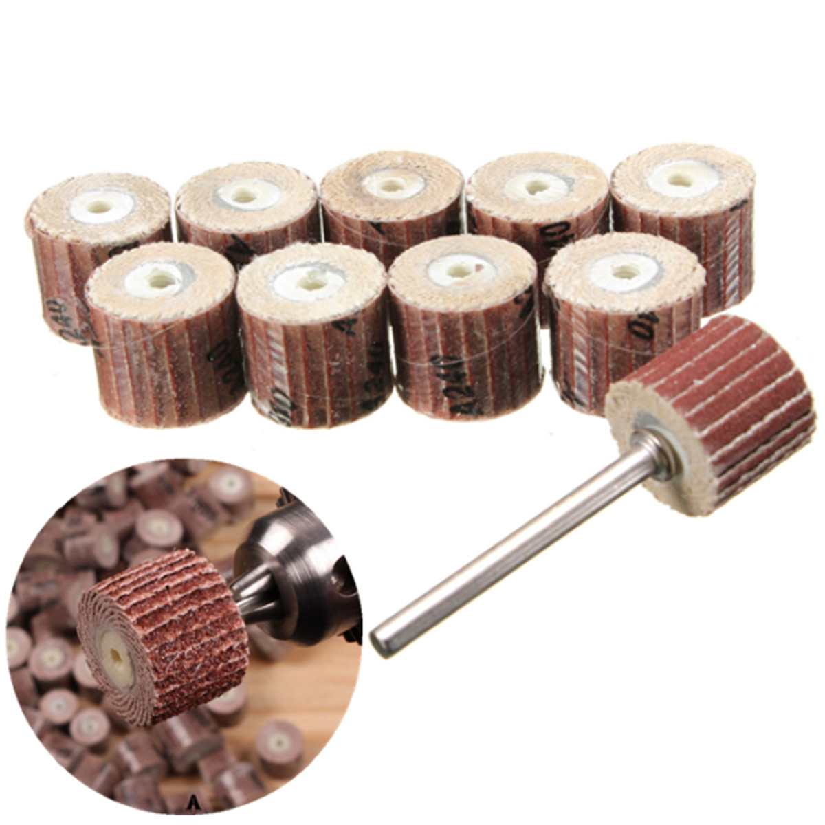 10pcs 12mm Sandpaper Grinding Wheel 80-600 Grit for Rotary Tools