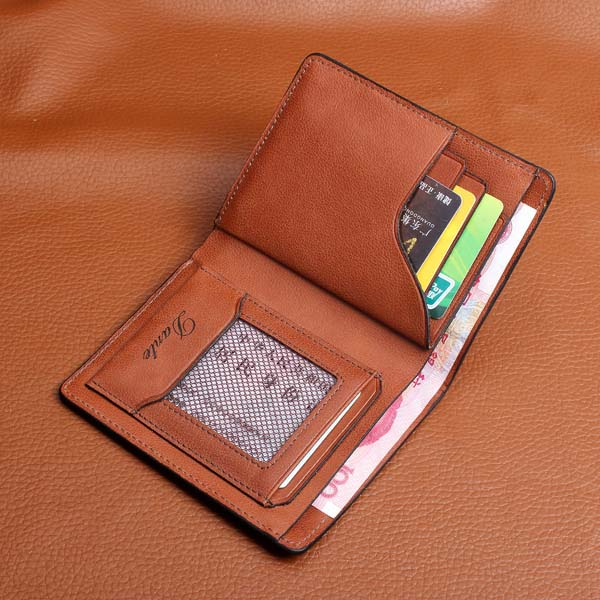 DANTE Brand Men's Genuine Leather Short Wallet Soft Head Layer Cowhide Leather Purse