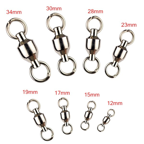 10 pcs Ball Bearing Fishing Rolling Swivel Connectors Solid Rings 0-7#