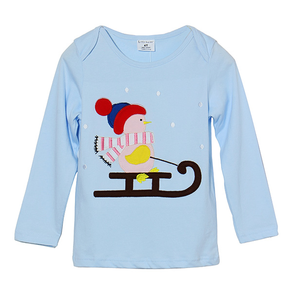 2015 New Little Maven Lovely Snowman Baby Children Boy Cotton Long Sleeve Top