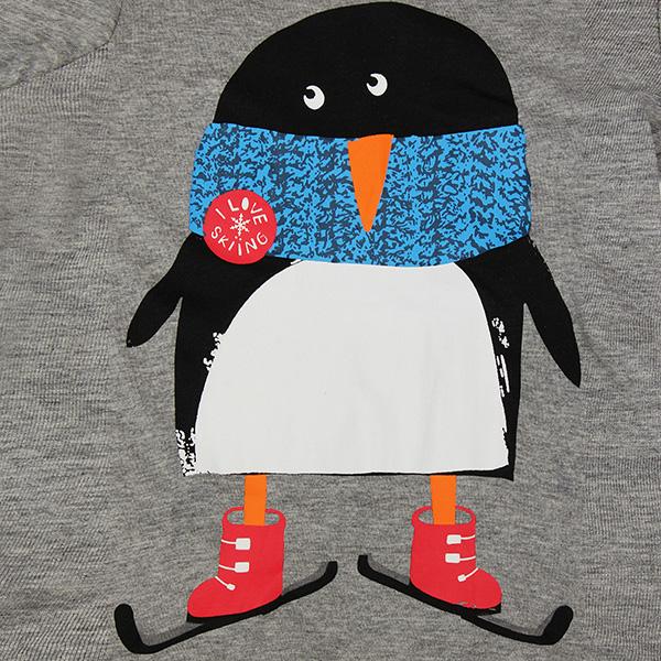 2015 New Little Maven Lovely Penguin Baby Children Boy Cotton Long Sleeve Top