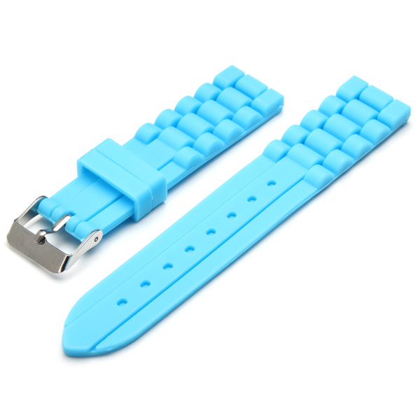 18mm 20mm Blue Pin Buckle Clasp Silicon Watch Band