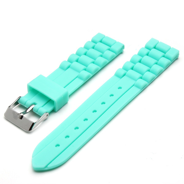 18mm 20mm Green Pin Buckle Clasp Silicon Watch Band