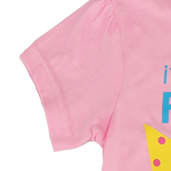 2015 New Summer Baby Girl Children Monkey Pink Cotton Short Sleeve T-shirt