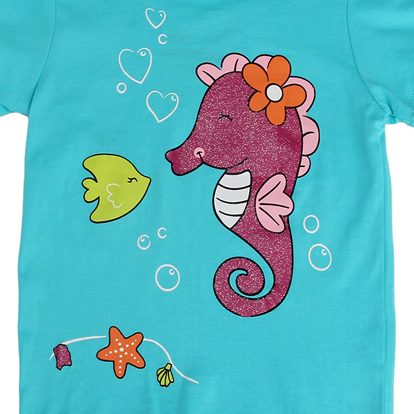 2015 New Summer Baby Girl Children Sea Horse Green Cotton Short Sleeve T-shirt