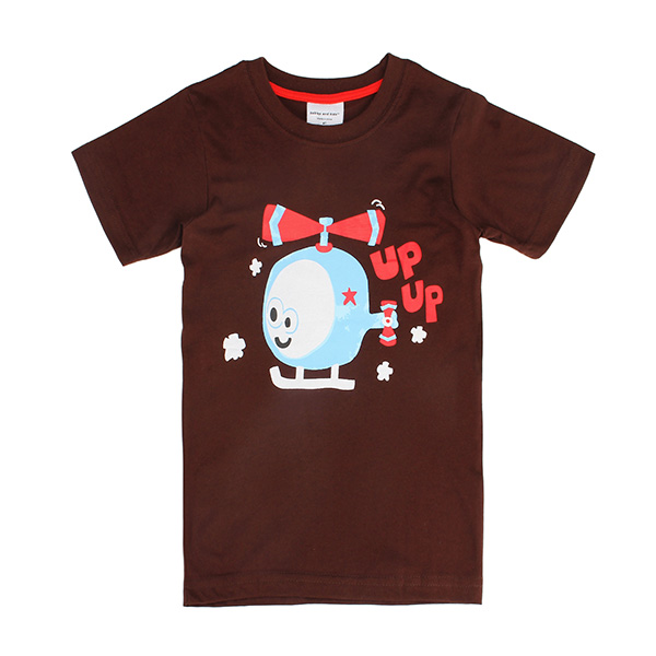 2015 New Lovely Helicopter Baby Children Boy Pure Cotton Short Sleeve T-shirt Top