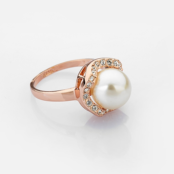 Italina Flower 18K Rose Gold Plated Artificial Pearl Zircon Crystal Finger Ring
