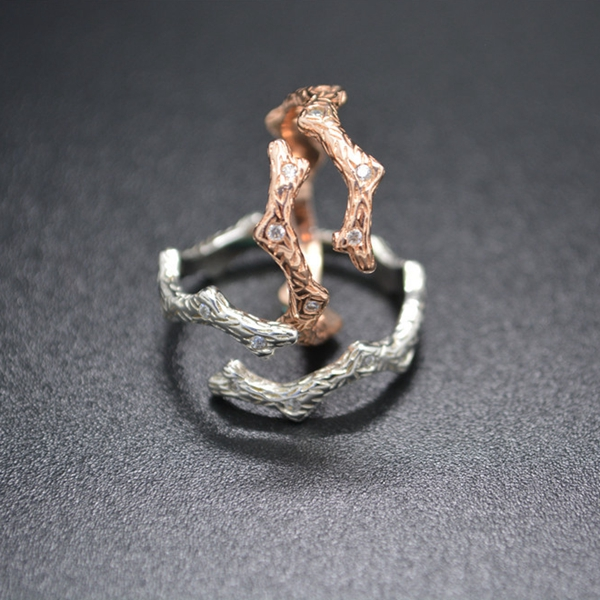925 Sterling Silver Branch Crystal Adjustable Open Ring