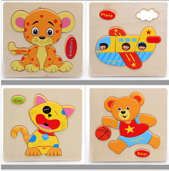 Baby Kid Children Lovely Animal Fruit Vehicle Wooden Early Learning Educational Puzzle Toy
