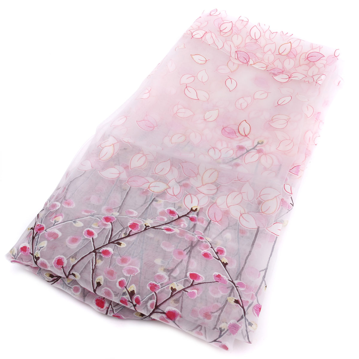 Wintersweet Tree Printed Tulle Voile Window Curtain Organdy Sheer Window Screen