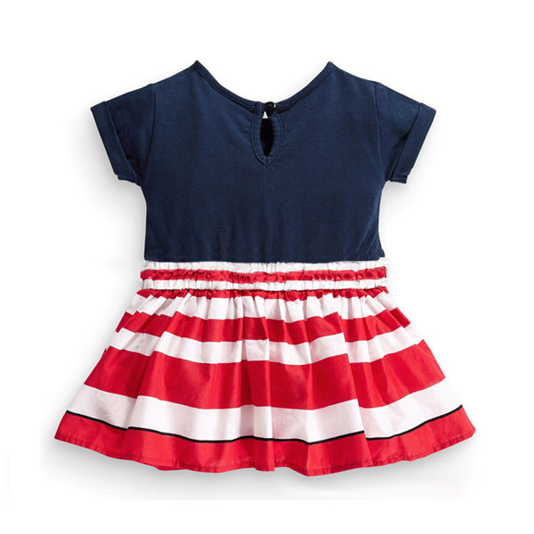 2015 New Little Maven Baby Girl Children Summer Dark Blue&Red Stripe Cotton Dress