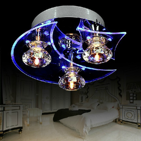 Modern LED Crystal Moon Star Chandelier Ceiling Light For Living Room Restaurant Corridor