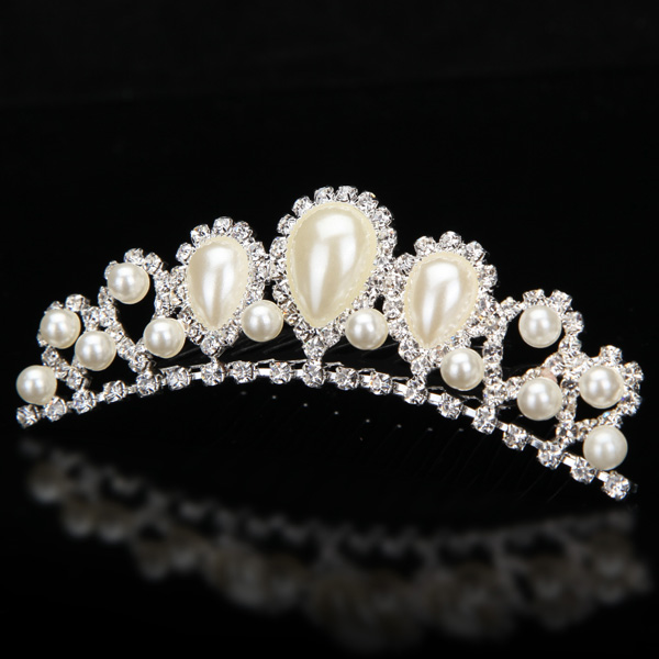 Bride Elegant Pearl Rhinestone Inlay Crown Tiara Hair Comb Wedding Accessories